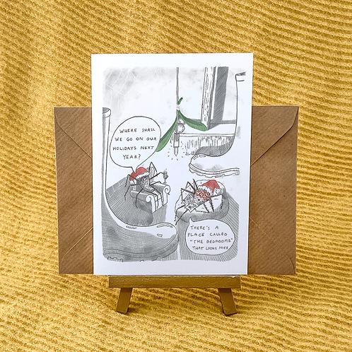 Spider Christmas Holidays Greetings Card