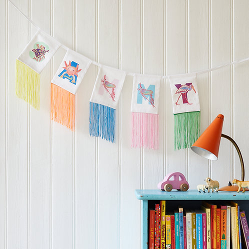 Personalised name in fringed animal bunting