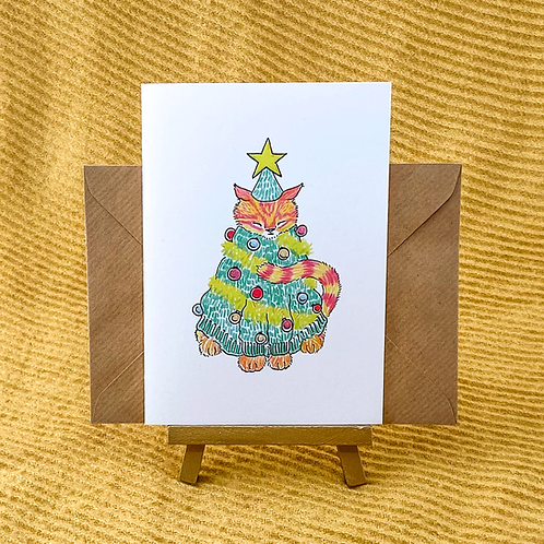 Christmas Cat Greetings Card