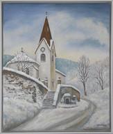 Hodruša v zime, kostol 53x63cm