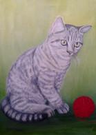 Mačička s klbkom 40x50cm