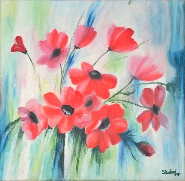 Kvety, olej a pastel.