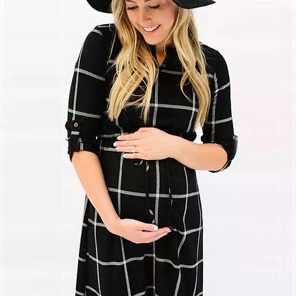 Vestido de maternidad a cuadros