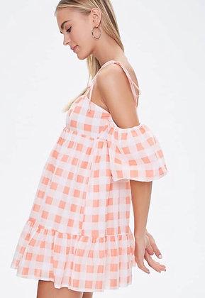 Vestido mini cuadros off shoulders