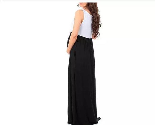 Vestido maternidad blanco con negro