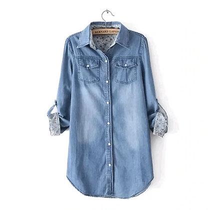 Camisa dark blue  mezclilla algodón manga detalle flores