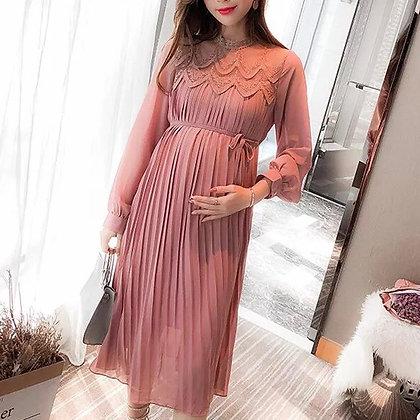 Vestido maternidad midi plisado
