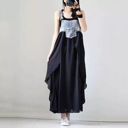 Vestido denim falda capas negro