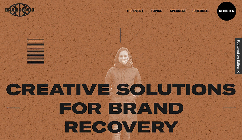 Website thumbnail for an online conference about creative solutions for brand success. Faded image of a woman and black text over a brown background cover the homepage.