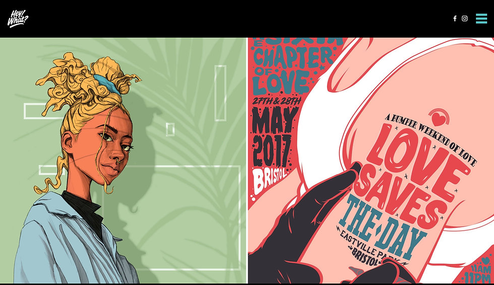 Website thumbnail for Hey What Studio. There is a black horizontal bar at the top with a logo on the left and hamburger menu on the right and social media icons next to it. Below that on the left side is an illustration of a woman facing forward with yellow hair and a septum piercing on a green background. On the right is an illustration of an arm with a tattoo on it and there is writng around the arm.