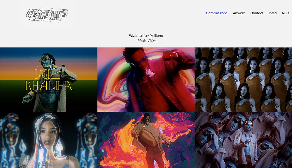 Website thumbnail for Grif Studio. Image shows website with colorful thumbnails of 2 different films. At the top is a horizontal menu.