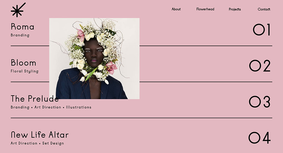 Website thumbnail for Ylimay. Pink background with black lines across it. In each section on the left side is text and on the right side, they are numbered 1-4. Over the first 2 sections on the left is a photo of a person wearing a flower head dress. At the top is a menu on the right and on the left is a logo.