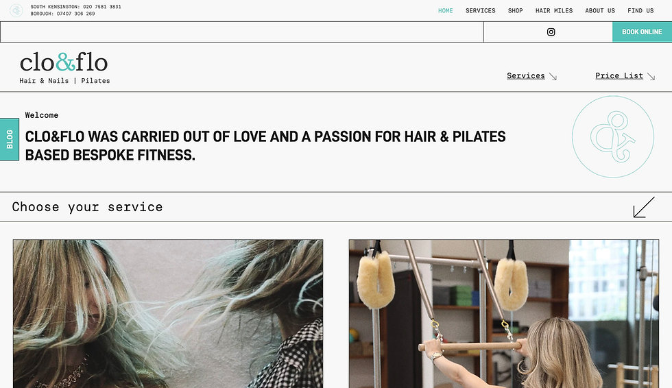 Website thumbnail of a beauty and Pilates studio. Black and white text, and a close-up image of blonde hair cover the homepage.