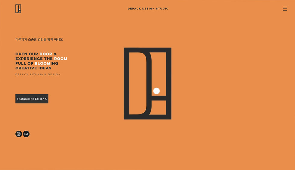 Website thumbnail for Depack design studio. Image shows orange background with black line illustration in the middle of the page. On the left is a mixture of black and white lettering.