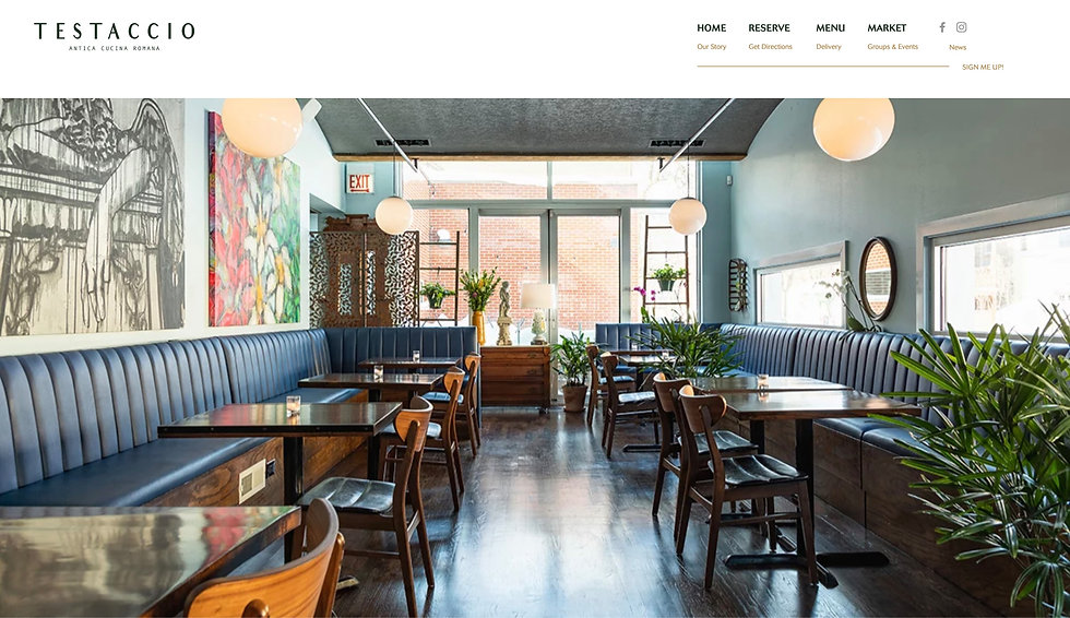 Website thumbnail for Testaccio Restaurant. There is a white horizontal menu bar at the top on the right. The logo is on the left and the main section is an image of the restaurant.