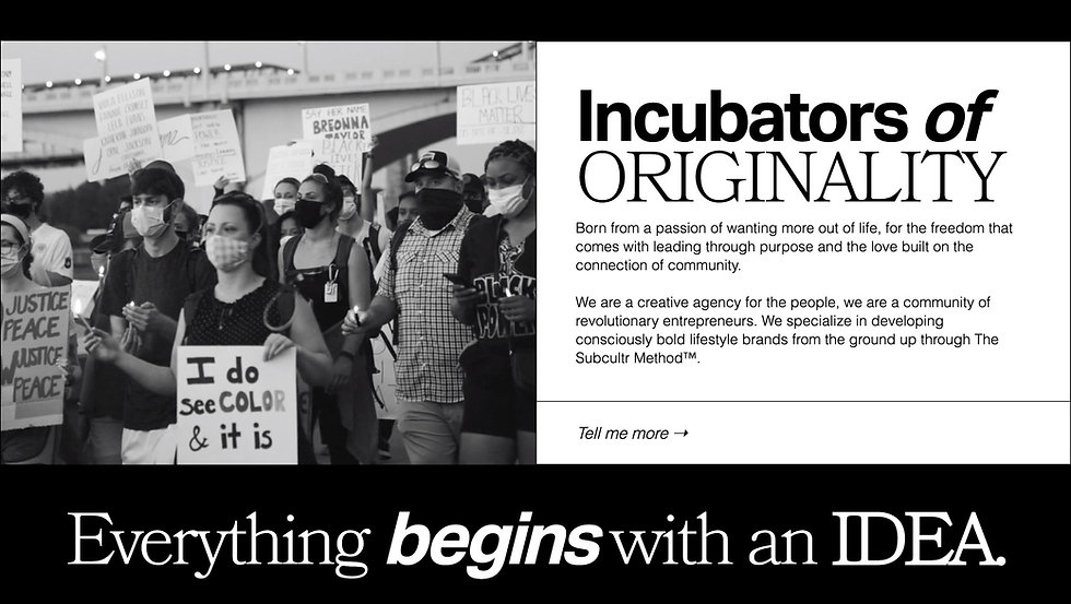 Thumbnail for We Are Subculture. Background is split in half. With the left side showing a black and white image of people in a march and holding signs. On the right half is a white background containing black text. Beneath the text is a CTA text with an arrow pointing right. There is a bold black heading at the top of the right half that is made up of two separate with a smaller white text paragraph below. There is a large black rectangle across the bottom of the page with white text.