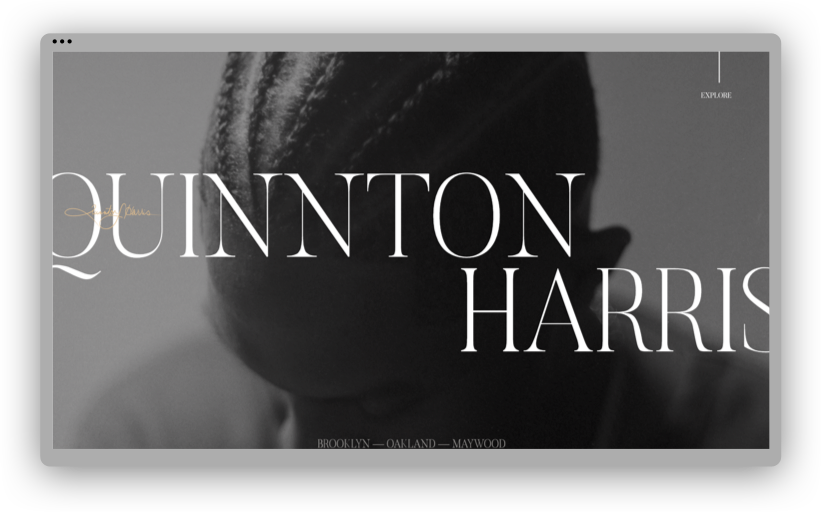 A screenshot of Quinnton Harris' portfolio website, showing a grayscale photo of Quinnton looking down and prominent typography reading his name.