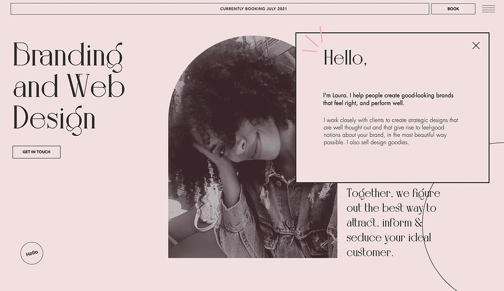 Website thumbnail for GD Look. Pink background with a black and white image of a women facing forward with her head in her hands, the top of the image is curved. There is a black box overlapping slightly with the image and there is text inside.On the left is a text. At the top is a bar with text and on the right, another bar, next to a hamburger menu.