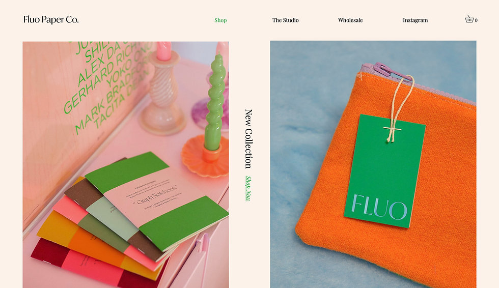Website thumbnail for Fluo Paper Co. The background of the image is a pale pink color and there is a horizontal menu bar at the top. On the left and right in the main section are two images of their products. In the middle is text written on its side.