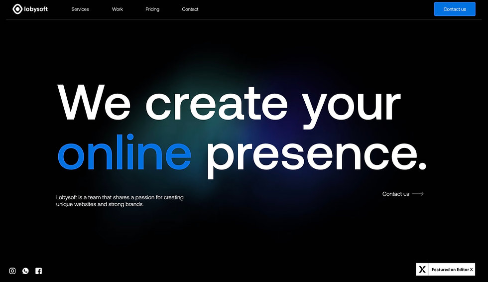 Website thumbnail for Lobysoft. Image shows black background for a horizontal menu at the top with white text. Underneath, the main background is white, there are 2 blue staggered on it with headers, images and lighter blue CTA buttons.