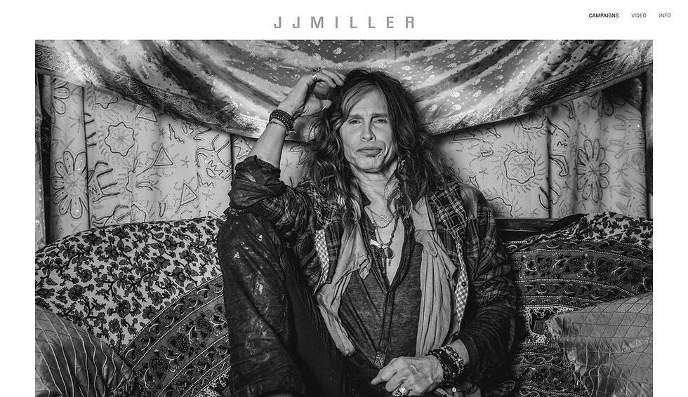 Website thumbnail for JJ Miller Productions. There is a white horizontal menu bar at the top on the right. The logo is in the middle. The main section is a black and white image of the the artist Steven Tyler.