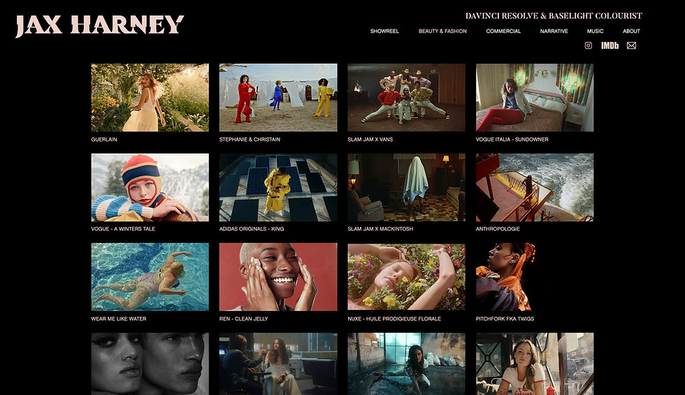Website thumbnail for Jax Harney's website. Image shows a black background with a logo in the top left corner and a horizontal menu in the right. The image has a 4 x 4 grid of thumbnails of smaller images with white text underneath each one.