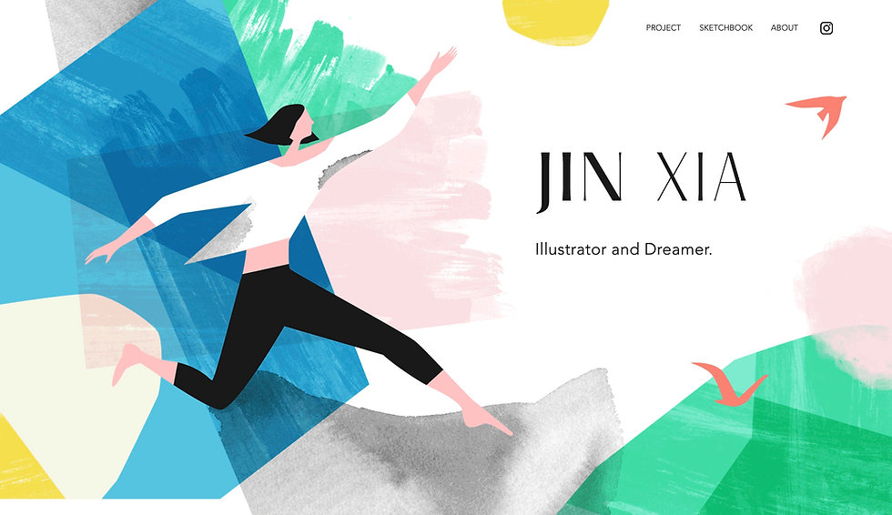 Website thumbnail for Jin Xia's website. Image shows white background with illustration of dancing girl and colored brushstrokes covers the homepage. There is a horizontal menu at the top on the right side.