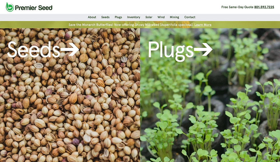 Website thumbnail for Premier Seed Company. The main image on the left is of seeds with a white title over it, and on the right of plugs with a title over it. At the top is a menu bar.