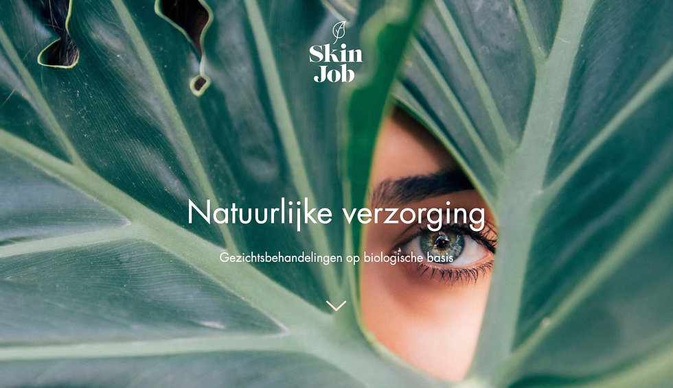 Website thumbnail for Skinjob website. Image shows a face peering out of large green leaves focusing on the eye. There is white text over the image.