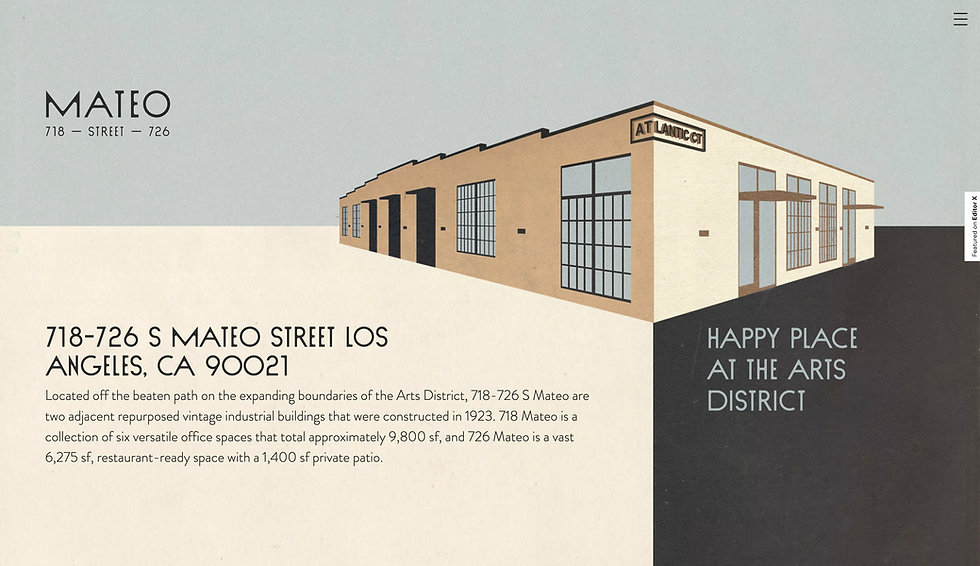 Website thumbnail of a real estate company providing shared workspaces. A building illustration and black text on a neutral background cover the homepage.