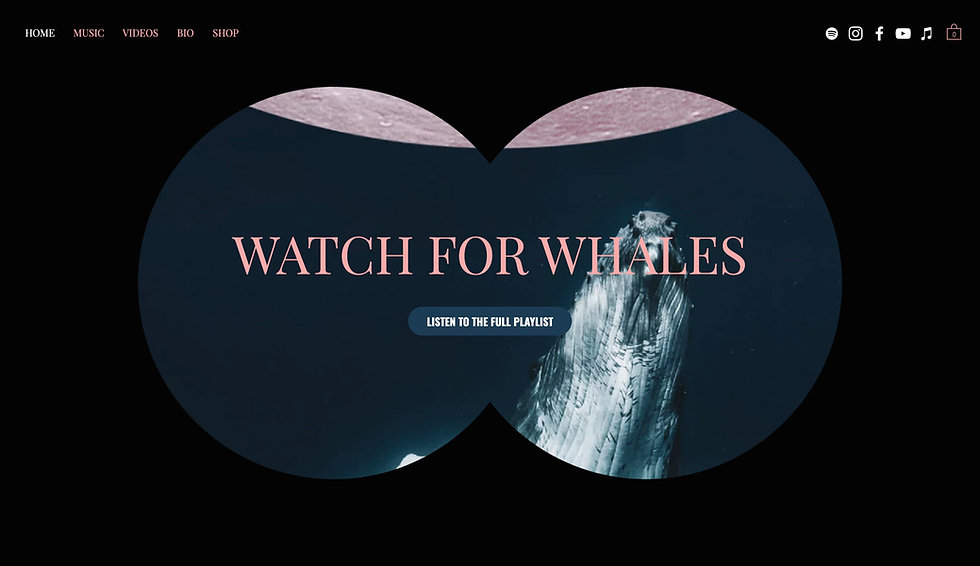 Website thumbnail for Watching for Whales. Black background with two circular shapes joined to create a binocular shape showing the image of a whale. At the top left is a menu bar in pink text. There are social media icons located at the top right.