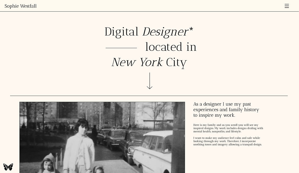 Website thumbnail for Sophie Westfall site. At the top on the left is the logo and on the right, a hamburger menu. The background of the site is pale pink and in the first fold is the header. In the 2nd fold is a black and white photo on the left and text on the right.