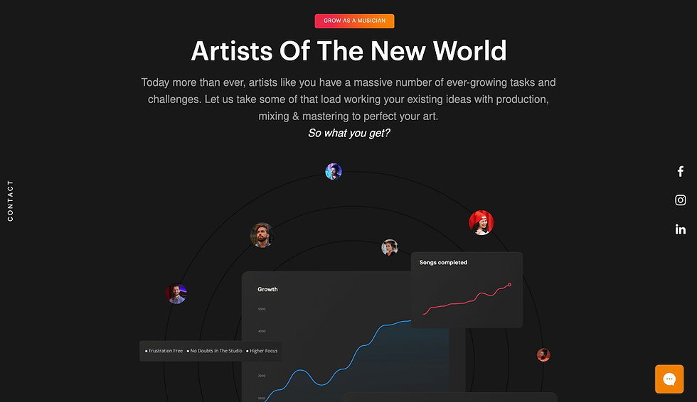 Website thumbnail for Be Yourself Sound. There is a black background, with a white header and text beneath it.The main image shows circles with images of artists in them, and different blocks. There is a social media bar on the right and a contact bar on the left.