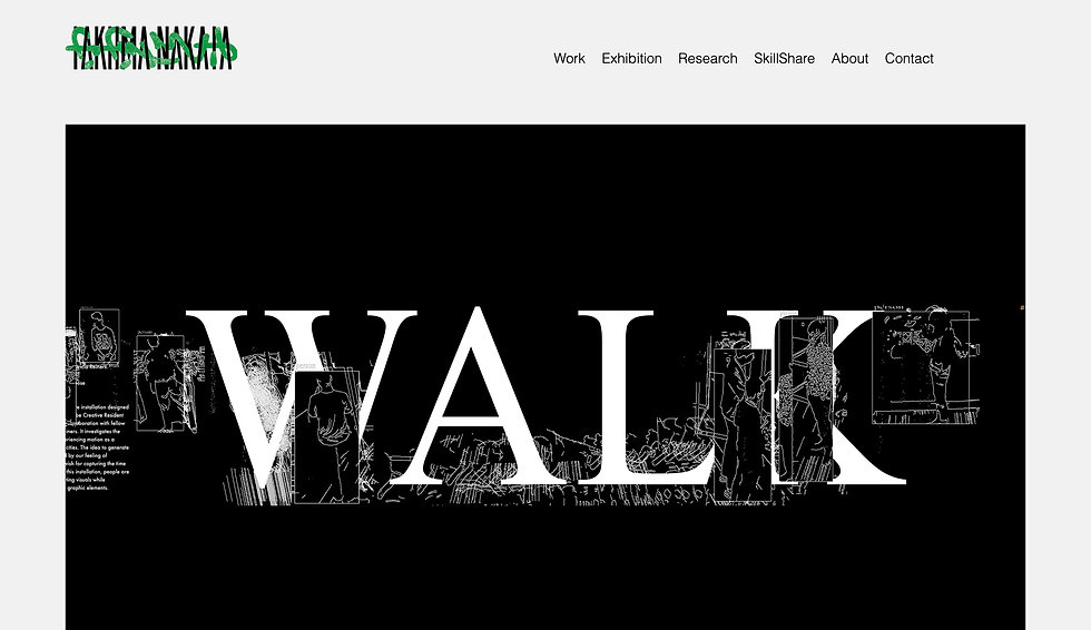 Website thumbnail for Takuma Nakata. Black rectangular shape laid over a white background. The word 'walk' is spread across the black rectangle. Top left is a logo in styled black and green text. Top right is a menu bar in black against the white background.