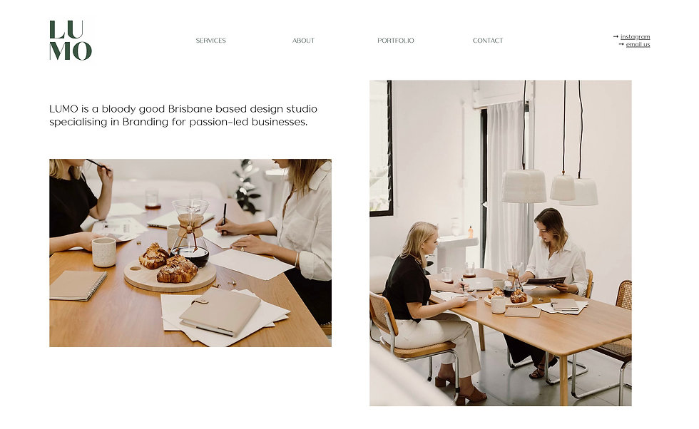 Website for Lumo. White background containing a square image block and a rectangular image block.Each block shows images of women sitting at a table Above the left image block is black text against the white background. Top left of the screen is a logo. At the top there is a menu bar. On the top right is text for social media.