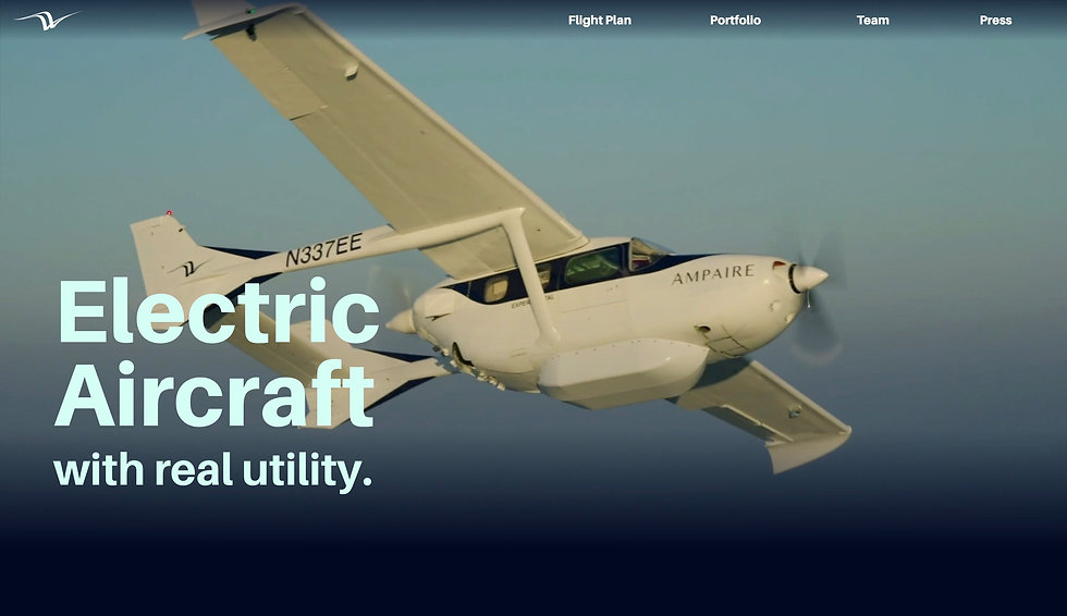 Website thumbnail for Ampaire website. Image shows a small plane flying in the sky, there is a horizontal menu at the top and text over the left side of the image.