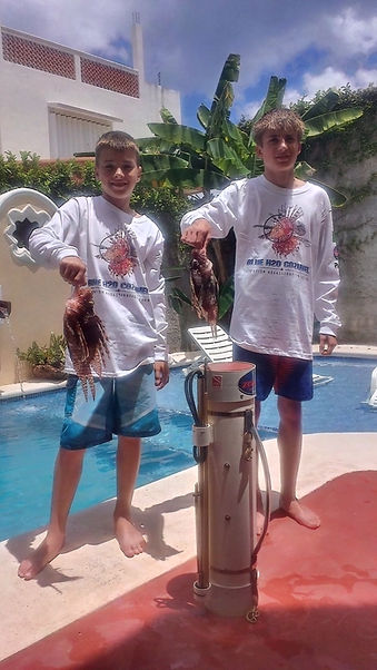 Lion Fish Hunt in Cozumel Mexico. Earn your Special Lion Fish Assasination Squad Shirt.