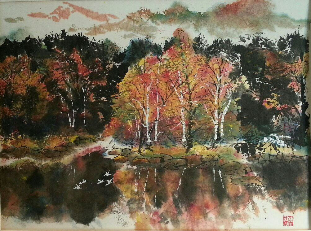 Fall Foliage-Chinese Brushpainting