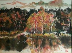 Fall Foliage-Chinese Brushpainting
