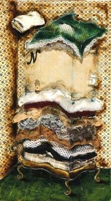 A princesa e a ervilha, Tecnica mista s papel, 44,5x25x2 cm 2007