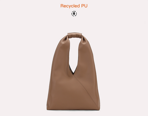 Brown recycled water base vegan leather polyurethane tote bag front view