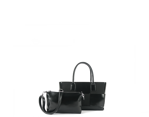 Black vegan leather satchels with pouch front view