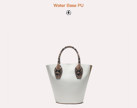 White two tone recycled vegan leather polyurethane tote bag front view
