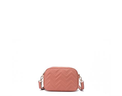 Pink vegan leather polyurethane crossbody bag front view