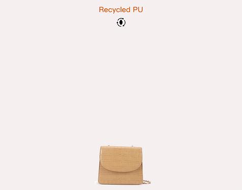 Mini beige recycled vegan leather polyurethane crossbody bag front view