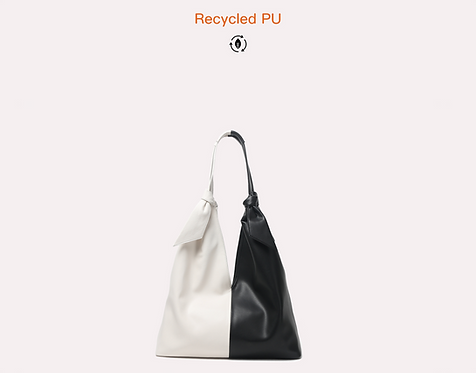 Two tone recycled vegan leather polyurethane tote bag front view