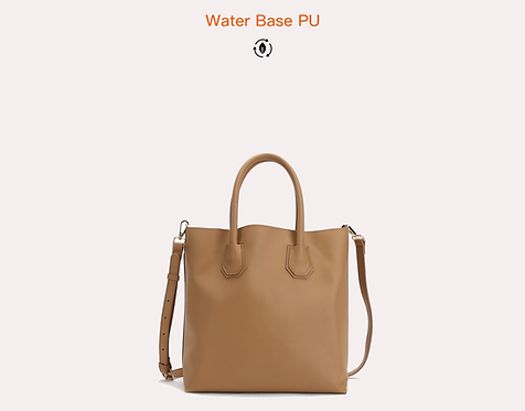 Brown recycled water base vegan leather polyurethane tete bag front view