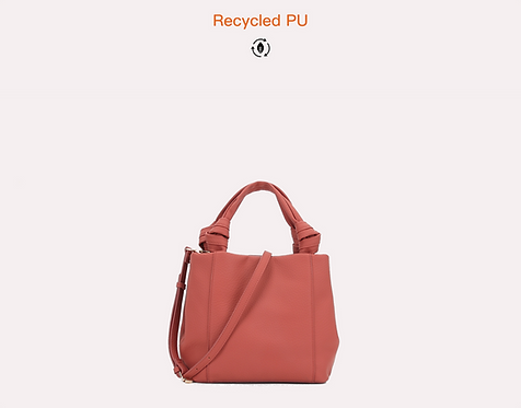 Red recycled water base vegan leather polyurethane PU crossbody bag front view