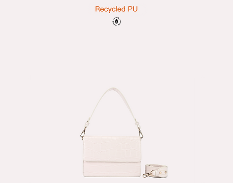 off white baguette vegan leather recycled with long strap