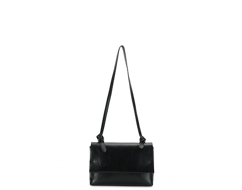 Black vegan leather crossbody bags front view